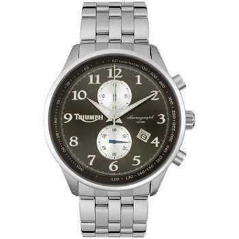 【迎春福袋】TRIUMPH 3013-22凱旋Speed Triple R不可能任務2列計時碼錶-不鏽鋼帶/黑/白圈/45mm