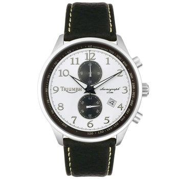 【迎春福袋】TRIUMPH 3013-02凱旋Speed Triple R不可能任務2列計時碼錶-皮帶/白/黑圈/45mm