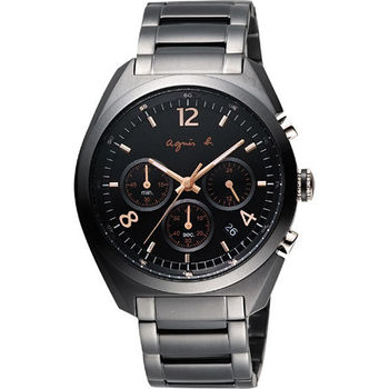 agnes b.法國時尚三眼計時腕錶-IP黑x玫塊金時標 VD53-K280C(BT3005X1)