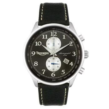 【迎春福袋】TRIUMPH 3013-02凱旋Speed Triple R不可能任務2列計時碼錶-皮帶/黑/白圈/45mm