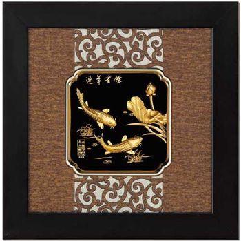 【鹿港窯】立體金箔畫-連年有餘(框畫系列24.5x24.5cm)