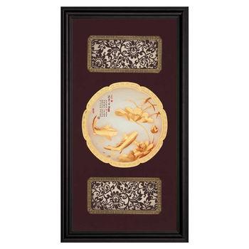 【鹿港窯】立體金箔畫-連年有餘(圓滿系列27.5x50.5cm)
