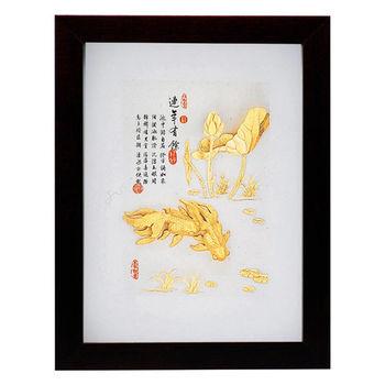 【鹿港窯】立體金箔畫-連年有餘(古香系列22.7x17.6cm)