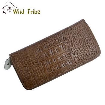 【Wild Tribe】鱷魚紋 真皮拉鍊長夾皮夾(B201-1)