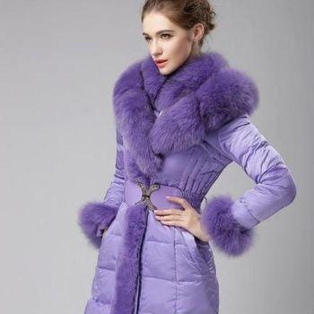 預購【EVESA伊凡莎】奢華高檔超美雙層連帽狐狸毛羽绒洋裝外套