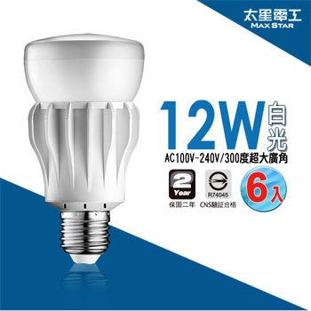 【太星電工】大廣角LED燈泡12W/白光(6入) A512W*6