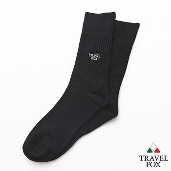 【Travel Fox】(男) 簡單生活 腳底加強版休閒中長襪 - 黑