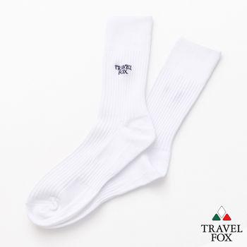 【Travel Fox】(男) 簡單生活 腳底加強版休閒中長襪 - 白
