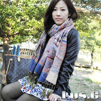 【LUS.G】神秘童話-喀什米爾羊絨復古風長圍巾