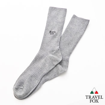【Travel Fox】(男) 簡單生活 腳底加強版休閒中長襪 - 灰