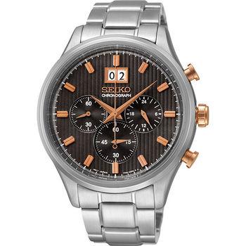 SEIKO CS 爵士大日期視窗計時腕錶-黑x銀 7T04-0AE0P(SPC151P1)