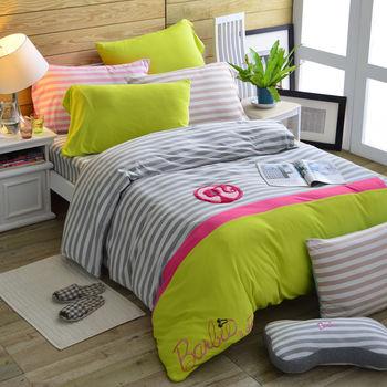 【Barbie】針織棉刺繡單人床包被套三件組(4款)