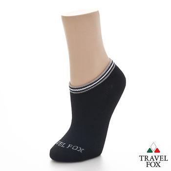【Travel Fox】(男) 電波踝襪 菱網透氣運動休閒踝短襪 - 黑
