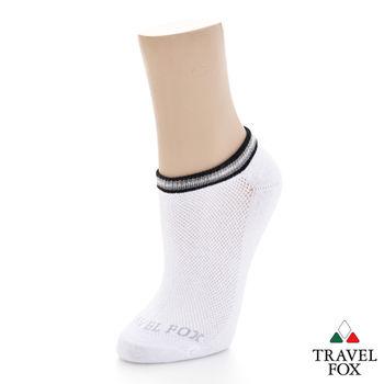 【Travel Fox】(男) 電波踝襪 菱網透氣運動休閒踝短襪 - 白
