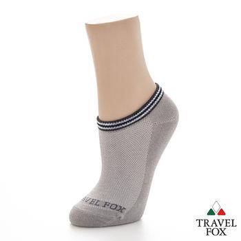 【Travel Fox】(男) 電波踝襪 菱網透氣運動休閒踝短襪 - 灰