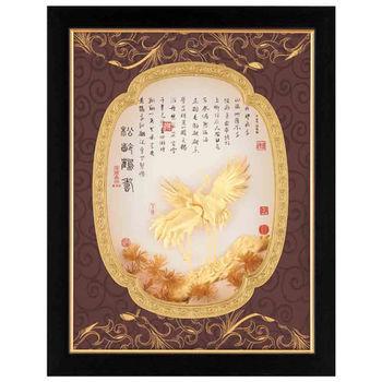 【鹿港窯】立體金箔畫-松齡鶴壽(豐采系列25.6x32.8cm)