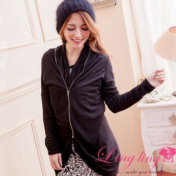 【lingling】變化式拉鍊罩衫外套(設計黑)A1957-2