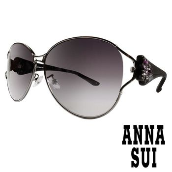 Anna Sui 日本安娜蘇 復古時尚經典蝴蝶水鑽鑲嵌金屬精雕造型太陽眼鏡 (黑) AS 874-900