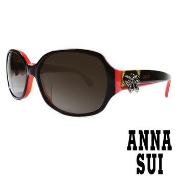 Anna Sui 日本安娜蘇 復古時尚蝴蝶綴飾造型太陽眼鏡 (黑+紅) AS 819-003