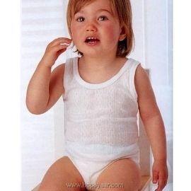 【西班牙 Abanderado】(0961)嬰兒連身衣透氣抽針織法背心純白色(尺寸12/18/24/)