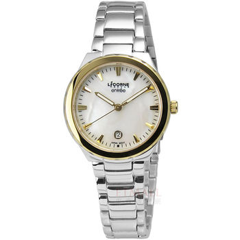 LICORNE entree 簡約俐落魅力彩貝不鏽鋼腕錶 白色 金色 30mm / LT053LTWI-K