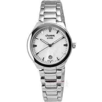 LICORNE entree 簡約俐落魅力彩貝不鏽鋼腕錶 白色 30mm / LT053LWWI