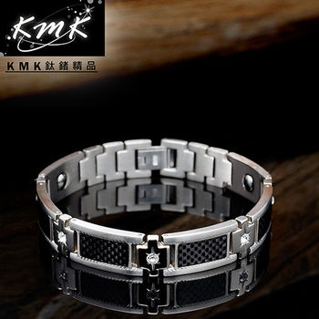 KMK鈦鍺精品【黑夜之都】純鈦皓石+磁鍺健康手鍊
