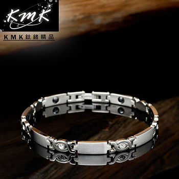 KMK鈦鍺精品【純真】純鈦+晶鑽+磁鍺健康手鍊