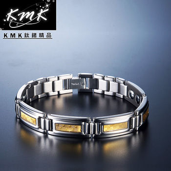 KMK鈦鍺精品【閃耀金光】金箔純鈦+磁鍺健康手鍊