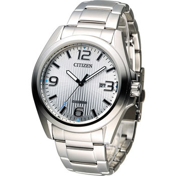 星辰 CITIZEN 光動能紳士時尚腕錶 AW1430-51A 銀白