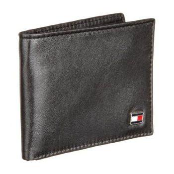 Tommy Hilfiger 2015男經典旗幟標章黑色條薄型皮夾(預購)