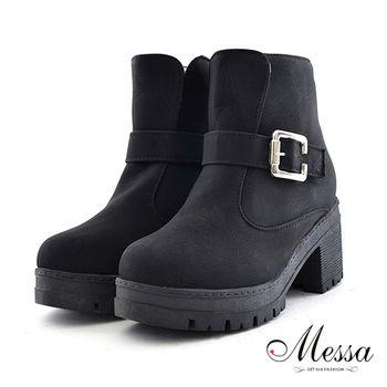 【Messa米莎】歐美名模騎士風格帥勁拉鍊短踝靴-黑色
