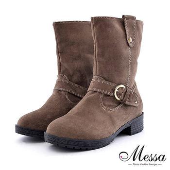 【Messa米莎】手感皮帶扣飾男孩風絨面中筒靴 -卡其色