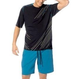 【西班牙MAAX】(9668)男性時尚長纖休閒居家服睡衣套 (黑藍)