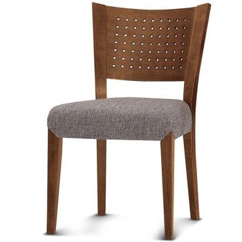 【椅吧】歐風鄉村舒適實木布面餐椅