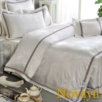 【Novaya諾曼亞】《費洛雪》緹花貢緞莫代爾加大雙人七件式床罩組