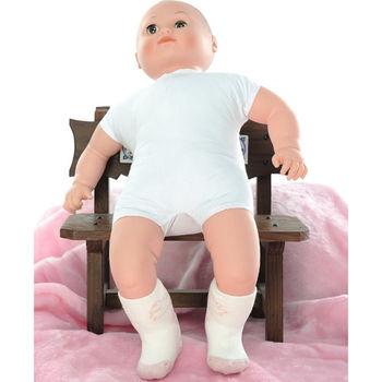 【KEROPPA】MIT6~12個月嬰兒厚底止滑短襪x3雙(白配淺紅)95001-C