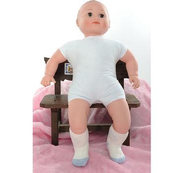 【KEROPPA】MIT12~24個月嬰兒厚底止滑短襪x3雙(白配藍)C95001-A