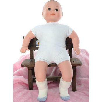 【KEROPPA】MIT6~12個月嬰兒厚底止滑短襪x3雙(白配藍)95001-C