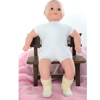 【KEROPPA】MIT6~12個月嬰兒厚底止滑短襪x3雙(黃配白)95001-C