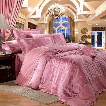 【Novaya諾曼亞】《凱薩爾》精品緹花貢緞精梳棉加大雙人床包兩用被四件組