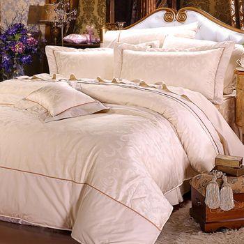 【Novaya諾曼亞】《聖‧奈潔拉》精品緹花貢緞精梳棉加大雙人床包兩用被四件組
