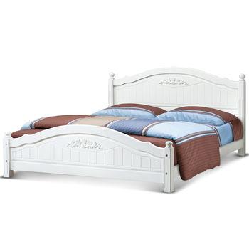 【日式量販】典雅歐風白色5尺實木雙人床架