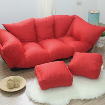 【IDeng】澎澎布丁雙人坐落地式沙發椅/床