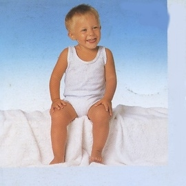 【西班牙 Abanderado】(a951)嬰兒連身衣藍直條背心(尺寸3)