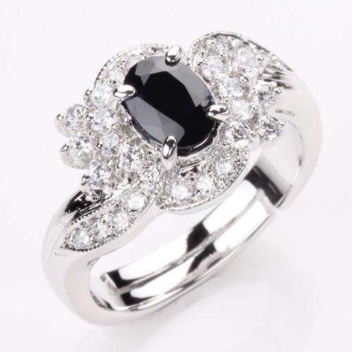 【寶石方塊】浪漫愛情天然1克拉黑藍寶石戒指