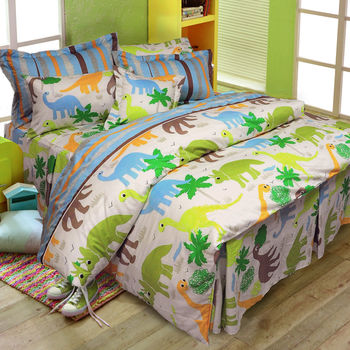 【Novaya諾曼亞】《DINO SQUAD》絲光棉雙人三件式床包組