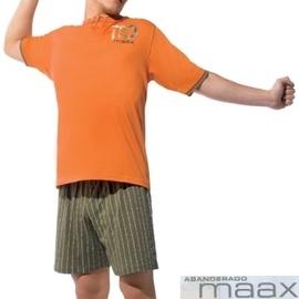 【西班牙MAAX】(1171)男性時尚長纖休閒居家服橘色睡衣套