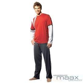【西班牙MAAX】(9653)男性時尚休閒居家服睡衣套 (紅 L)
