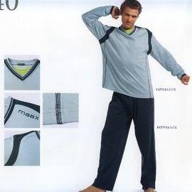 【西班牙MAAX】(9640)男性時尚綿睡衣睡褲套-淺藍(L)